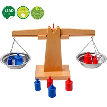Wooden Toy Balance Scales /& Weights Set Educational Kids Early Learning Toys D