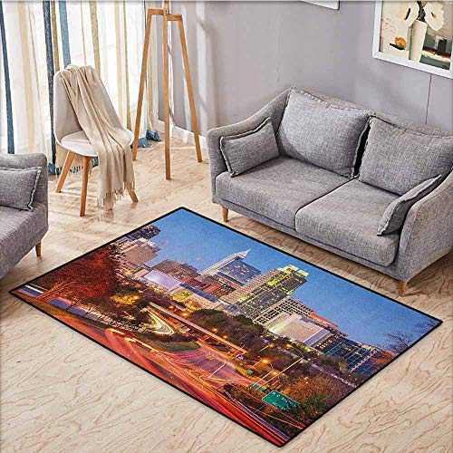 Living Room Area Rug,United States,Raleigh North Carolina USA Express Way Business District Building Skyscrapers,Large Area mat,5'3