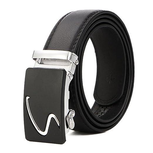 Emorias 1 Pcs Cinturon de Hombre Cuero Hebilla Automática Traje Correas Elegante Metalico Cinturones Marca Ropa Accesorios