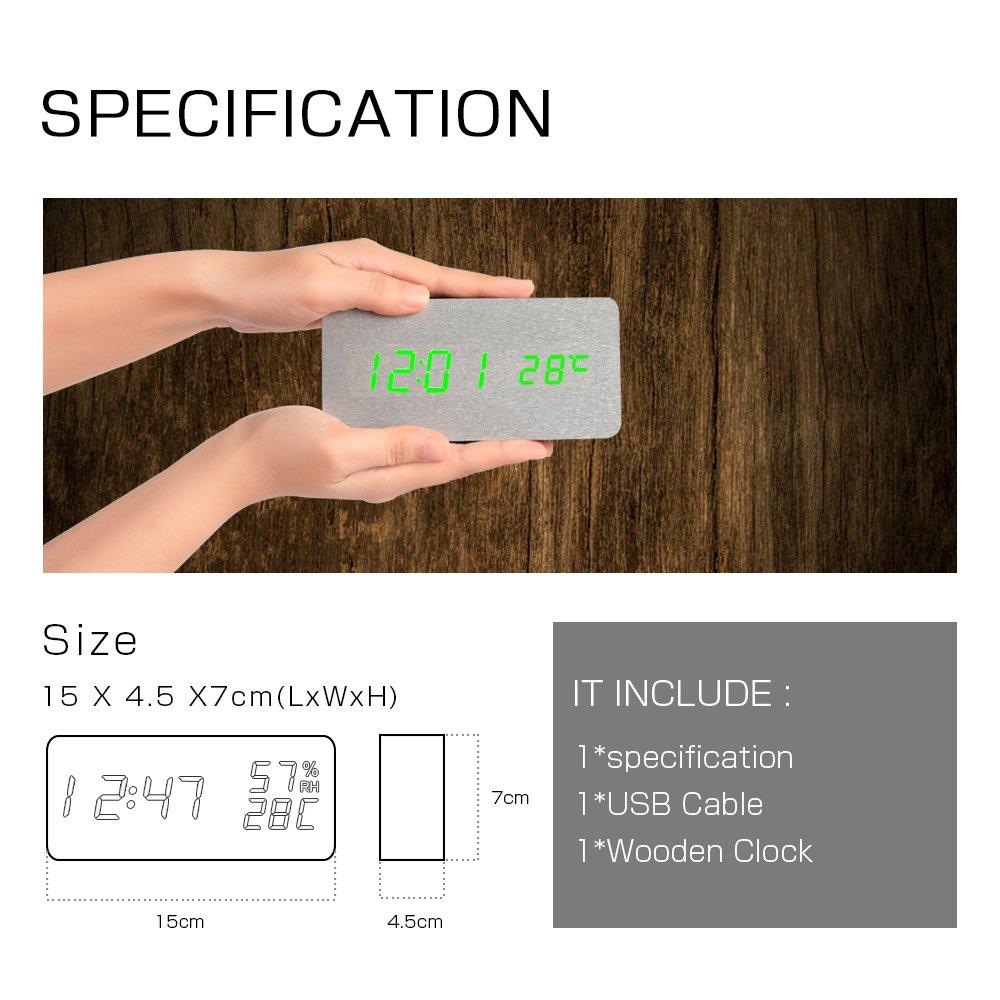 Fibisonic Electronic Clock Touch Sensor Wooden Alarm Silver Bamboo 1293 Red Lightblue Lightgreen Light Kitchen Home