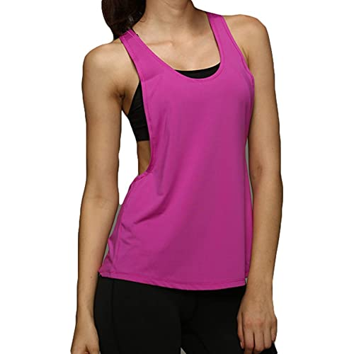 Hibote Quick Dry Vest Singlet per Donna T-Shirt Fitness Tank Top Purple L