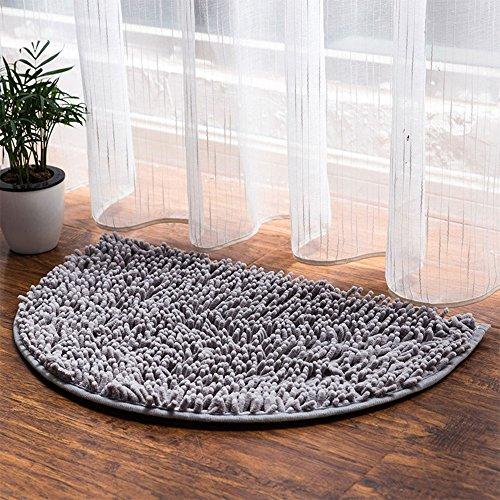 - Prime Leader Half Moon Chenille Microfiber Doormat Non-Slip Water-Absorbent Carpet Front Entrance Indoor Bath Mat Rug for Bedroom Bathroom Living Room,Silver Gray,15.7