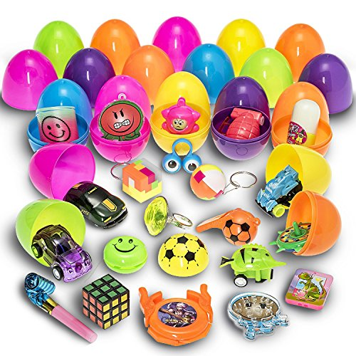 Prextex Toy Filled Easter Eggs Filled with Mini Toys and Trinkets Each Egg Contains a Different Toy]()