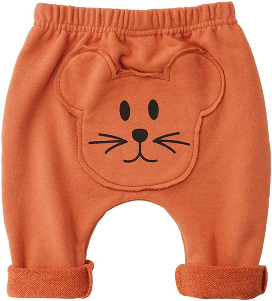 Teach Leanbh Baby Boys Girls Pants Cartoon Animal Pattern Casual Harem Pants Spring Autumn 3M-24M 3-6M, Mud Red//Mouse