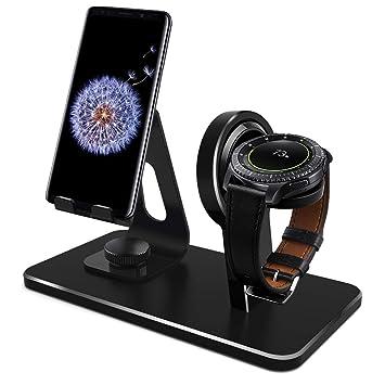 Kmasic Compatible Samsung Galaxy Watch 46mm 42mm Gear S3 Soporte del Cargador, Base de Carga Samsung Gear S3 Classic Frontier, Base para teléfono ...