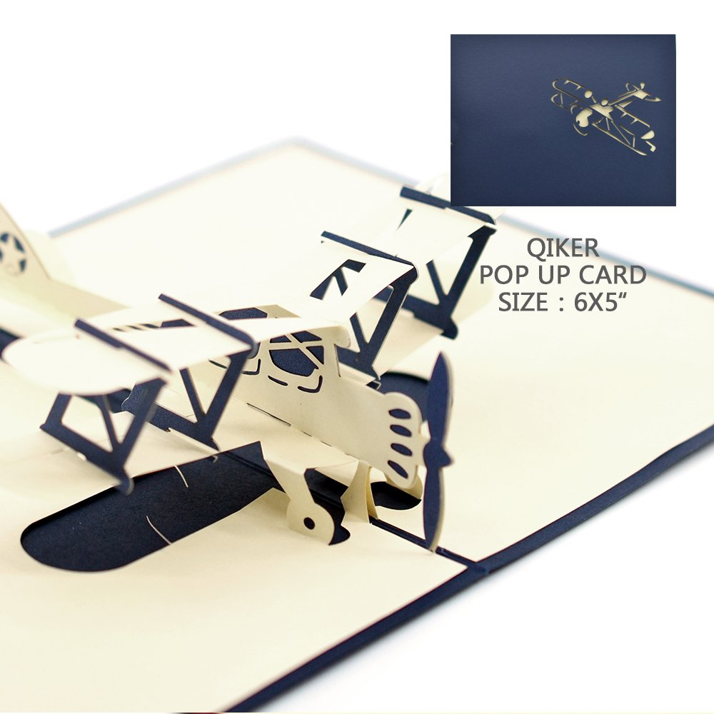 Thank You Pop Upカード、Qiker 3d Aircraft誕生日カード、Kids Thank YouカードGreeting Cards with Envelopes B07CHKKPSB