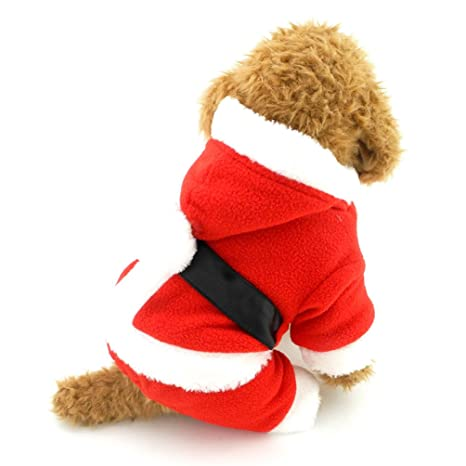 smalllee_lucky_store small dog santa costume dog christmas outfits chihuahua clothes boy medium red