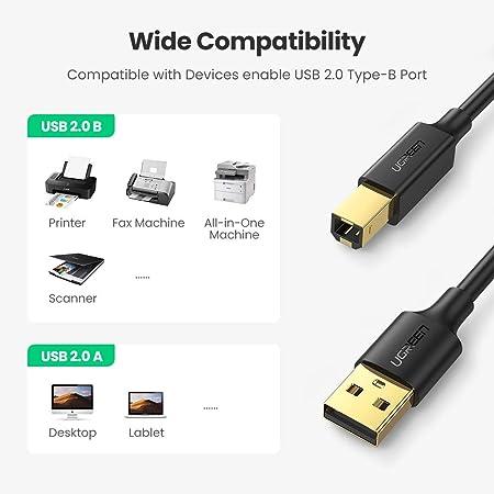 UGREEN 10351, Cable para Impresora, Cable USB 2.0 Tipo A Macho a ...