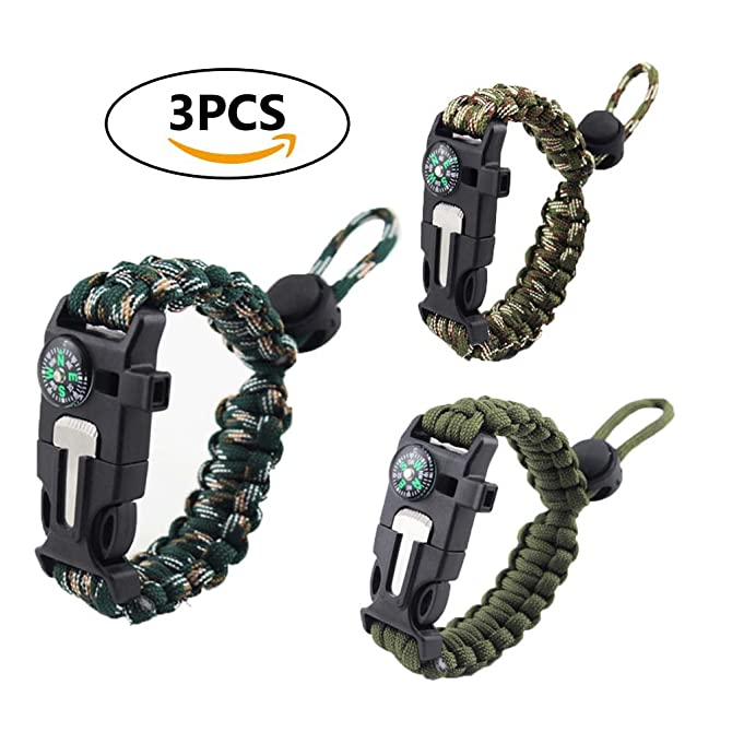 Survival Bracelet, Coideal 3Pcs Outdoor Camping Kit Adjustable Multifunctional Emergency Paracord Bracelet Gear for Fishing Hiking Hunting Boating