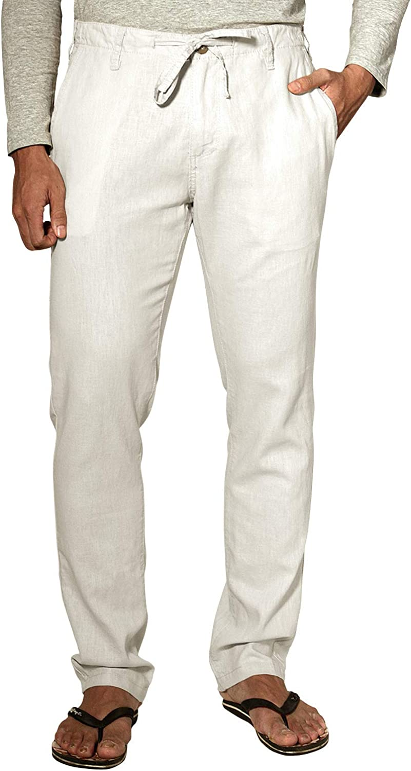 Match Men's Slim Tapered Linen Casual Pants #8059