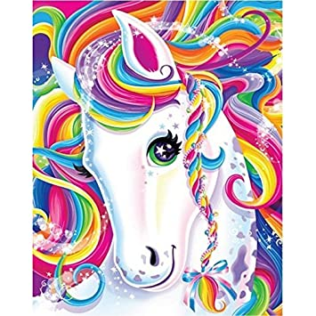 DIY 5D Diamond Painting by Numbers Kits for Kids Adults Rainbow Pony Full  Drill Round Embroidery Dotz Home Wall Art Decor,Colorful Horse