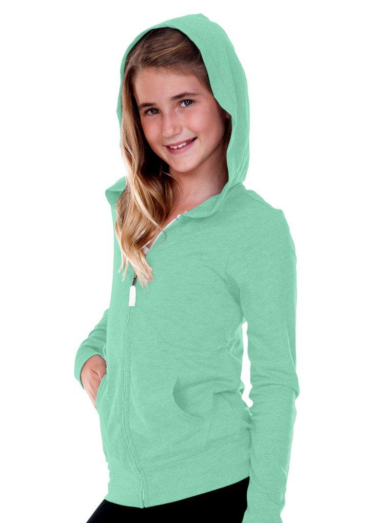 Kavio! Big Girls 7-16 Jersey Long Sleeve Zip Up Hoodie Ice Green XL