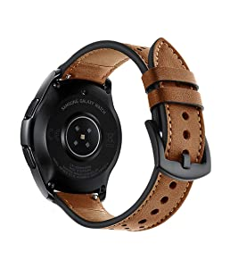 22mm Watch Band, OXWALLEN Leather Watch Band Quick Release Soft Strap fit for Samsung Watch 46mm, Gear S3 Frontier/Classic and Smart Watches -Brown