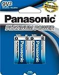 "Panasonic Energy Corporation 6LF22XP/2B Platinum Power ""9V"" Alkaline Batteries, 2 Pack"
