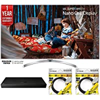 LG 60 Super UHD 4K HDR Smart LED TV 2017 Model (60SJ8000) with UHD Blu-ray Player, 1 Year Extended Warranty & 2x 6ft High Speed HDMI Cable Black