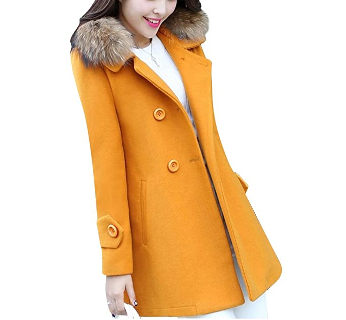 Gabardina Larga Casual para Mujer Abrigos Chaquetas con Cuello de Piel sintético Parka XS Amarillo