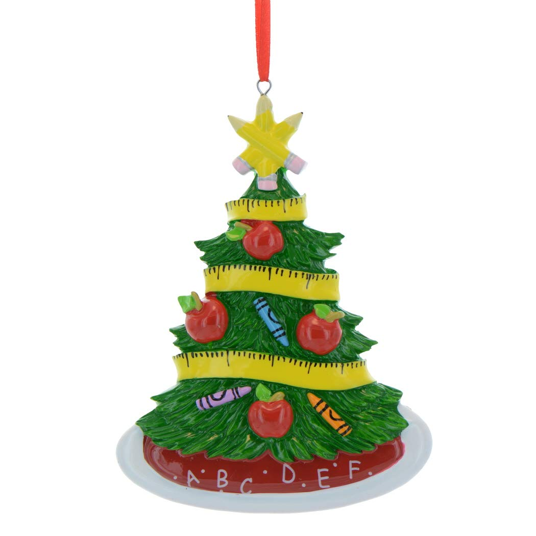 Personalized Teacher Christmas Tree Ornament 2018 - Garnished Rule Ribbon Apple Baubles Pencil Star - Lecturer Best First Grade Profession Primary Secondary Fe-Male - Free Customization Ornaments by Elves