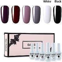 Vishine Gel Nail Polish Gift Set Dark Red White Black Series 6 Colors Nail Art Soak Off UV LED Gel Polish Starter Kit 8ml