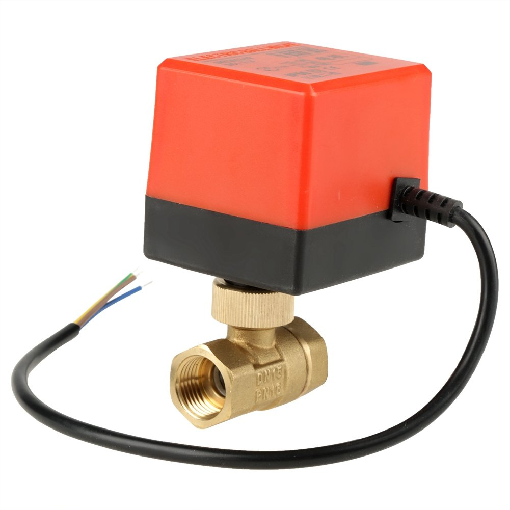 DC12V G1/2' DN15 2 Way Brass Motorized Actuator Ball Valve Normally Closed Electric Ball Valves Hilitand
