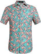 SSLR Men's Flamingos Casual Button Down Short Sleeve Hawaiian Shirt