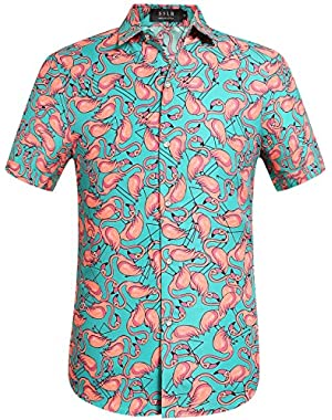 Men's Flamingos Casual Button Down Short Sleeve Hawaiian Shirt
