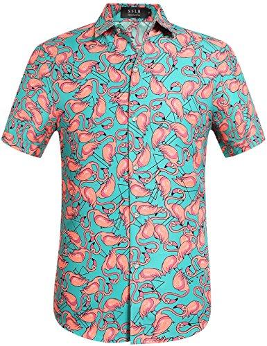 SSLR Men's Printed Casual Button Down Short Sleeve Hawaiian Shirts (Medium, Green)