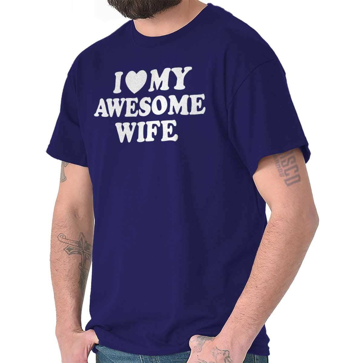 I Heart My Awesome Wife Husband Married Couple Marriage Love T Shirt Tee