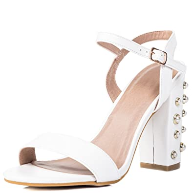 374737c0e7d Diamante High Heel Strappy Sandals White Leather Style Sz 6
