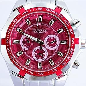 Readeel® Red Stylish Quartz Movt Stainless Steel Watchband Mens Wrist Watch