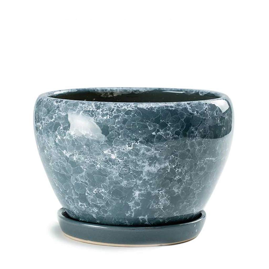 CJH New Crystal Glaze grigio Ceramic Pot Pot Home verde Ravish Tavolo Phalaenopsis Traspirante con Vassoio Vaso di Fiori
