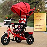 Children's Bicycles, Tricycles, Folding Bikes 1-6 Years Old, Baby Strollers, Removable Push Rods, Awnings ( Color : Red )