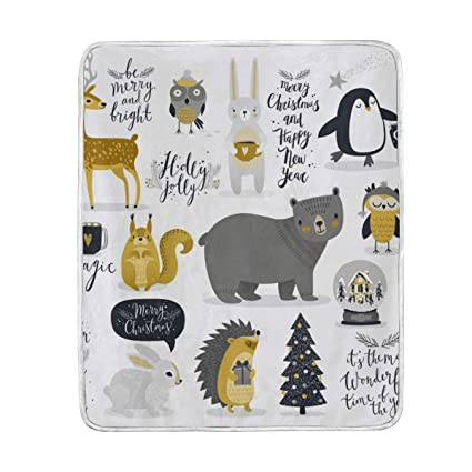 Amazon.com  Forest Animal Cute Throw Blanket for Bed Couch Chair ... 2f61dcce5d