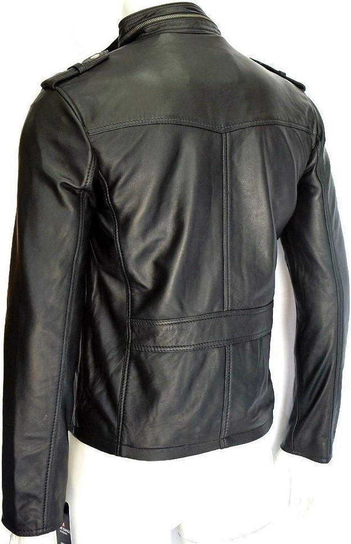 Woojo Mens Leather Biker Jacket WJ033