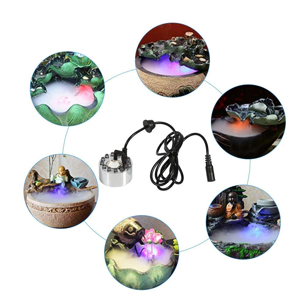 Avec adaptateur EU Prise Brumisateur Diffuseur Brume Feux /à Brouillard 12 LED Lumi/ère color/ée Fogger Air l/étang de Fontaine dEau avec lHumidificateur dAir de Machine dAdaptateur Puissance 24V