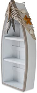 """Beach Theme Display Standing Boat Shelves with Fish Net & Star Fish Shell 16.5"""" Tall Wall Hanging Decor"""