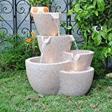 Feng Shui Import Muiti Pots Sandstone Outdoor Indoor Water Fountain with Led Lights For Sale