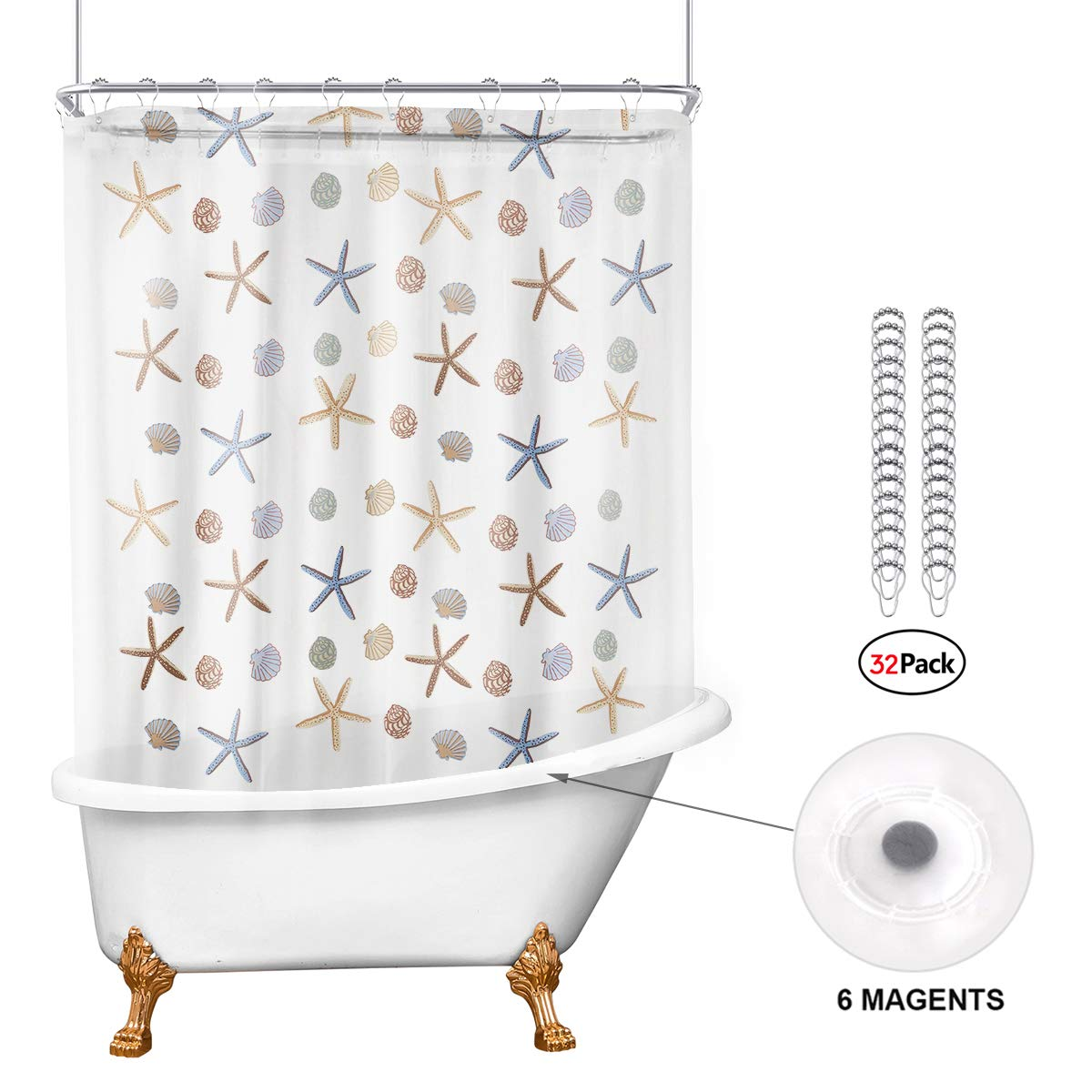 Riyidecor Ocean Starfish 180x70 Shower Curtain Set with Magnets All Around Clawfoot Tub Bathroom Decor Panel PEVA Vinyl Extra Wide 32 Pack Metal Shower Hooks