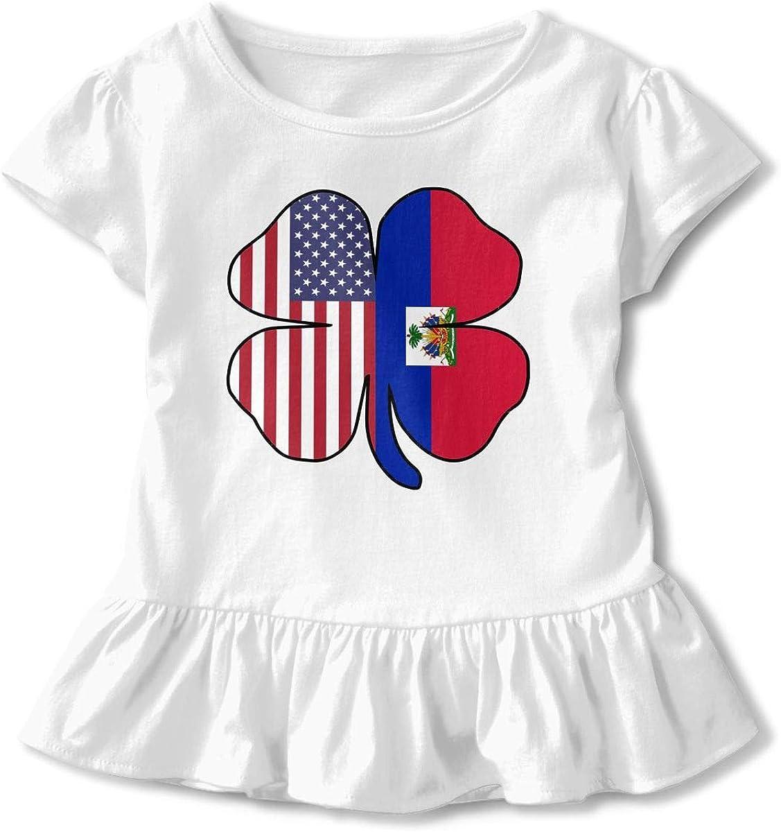 HYBDX9T Little Girls American Haitian Flag Shamrock Funny Short Sleeve Cotton T Shirts Basic Tops Tee Clothes