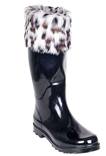 Amazon.com | Women Rubber Rain Boots, Knit Sock Cuff & Quilted ...