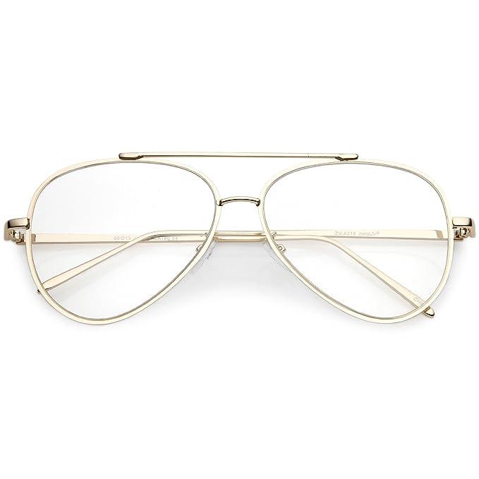 f79c2ebf1625 sunglassLA - Mod Fashion Metal Aviator Eyeglasses Teardrop Rimless Clear  Flat Lens 58mm (Gold/