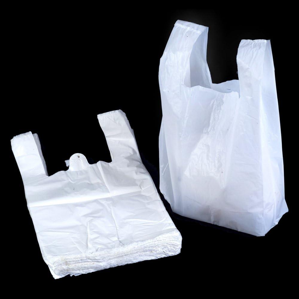 10 x 15 x 18 500x White Plastic Vest Carrier Bags