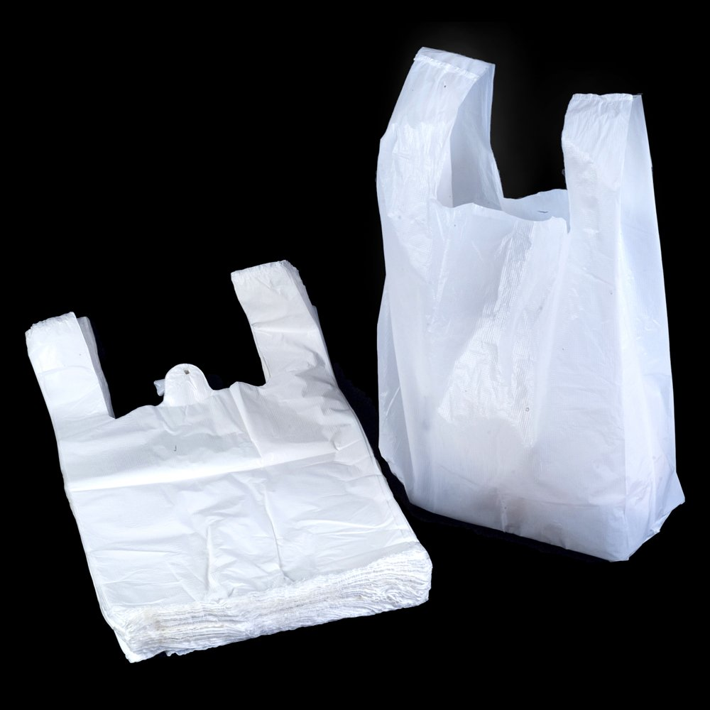 "White Vest Style Plastic Carrier Bags - 11"" x 17"" x 21"" - (1 box = 500 bags) - HEAVY DUTY"