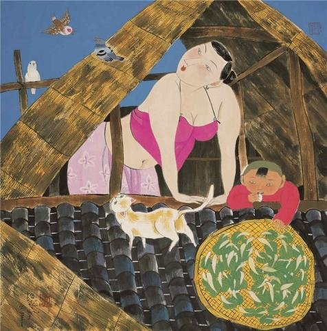 Thailand National Costume Female (Oil Painting 'Hu Yongkai,Woman And Her Child In The Attic,21th Century' Printing On High Quality Polyster Canvas , 20x20 Inch / 51x52 Cm ,the Best Foyer Artwork And Home Decor And Gifts Is This Vivid Art Decorative Prints On Canvas)