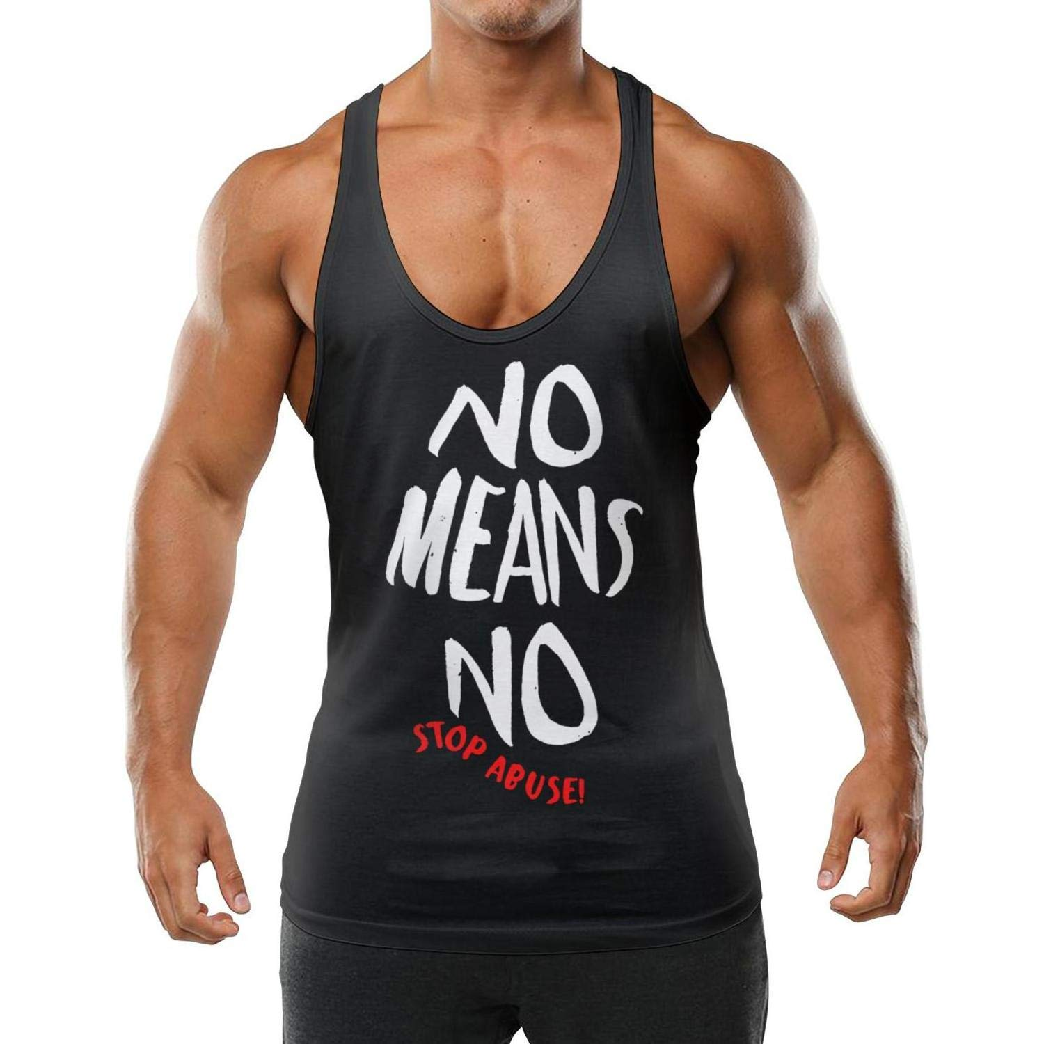 Mens Sleeveless Tank Tops No Means No Feminist Stop Abuse Vest Casual Stringer Waistcoats