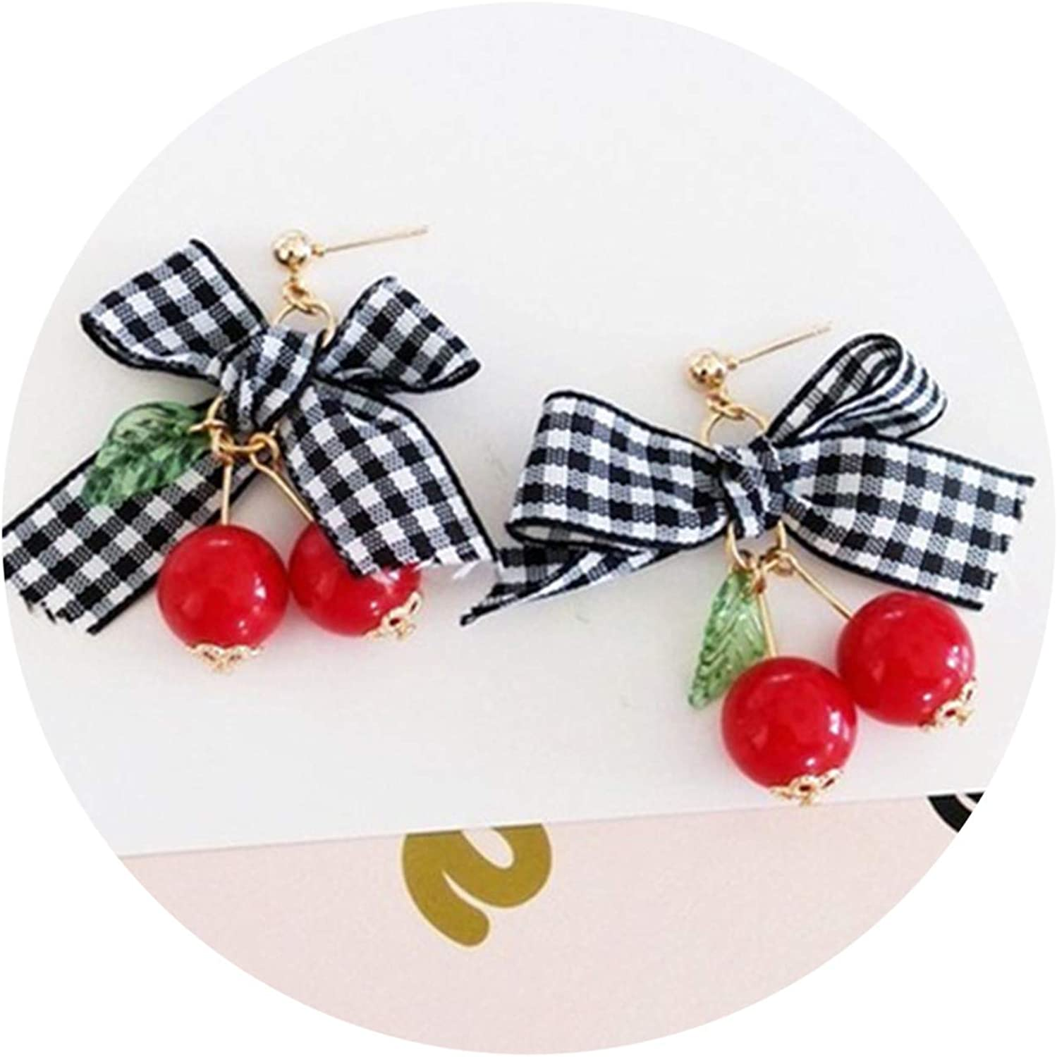 Fashion Woman Stud Earrings Fashionable Sweet Cherry Too Sweet Bowknot Earrings Cherry Earrings for Women