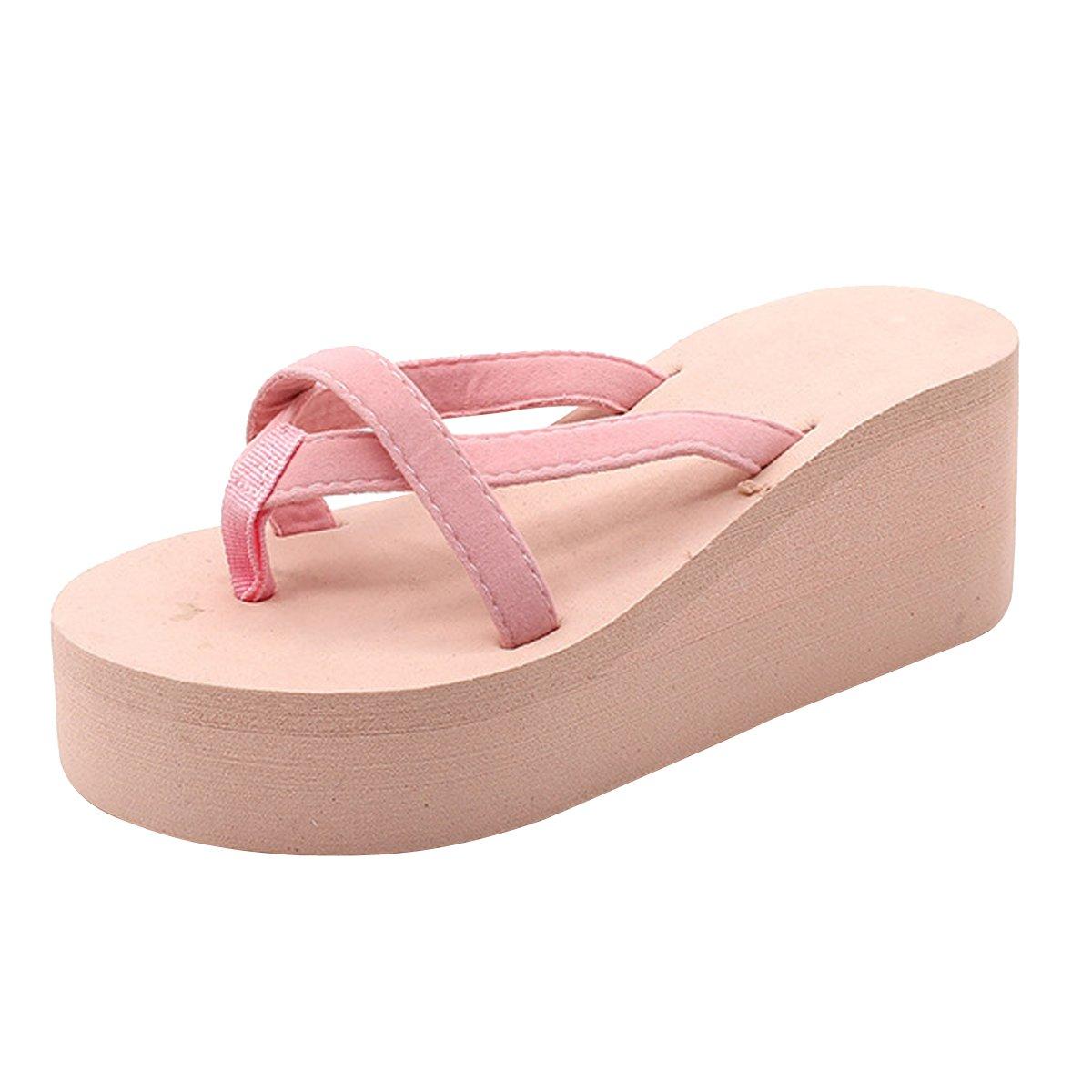 VFDB Women Summer Platform Sandals Flip Flops Chunky High Wedge Beach Flat Thong Slippers Pink