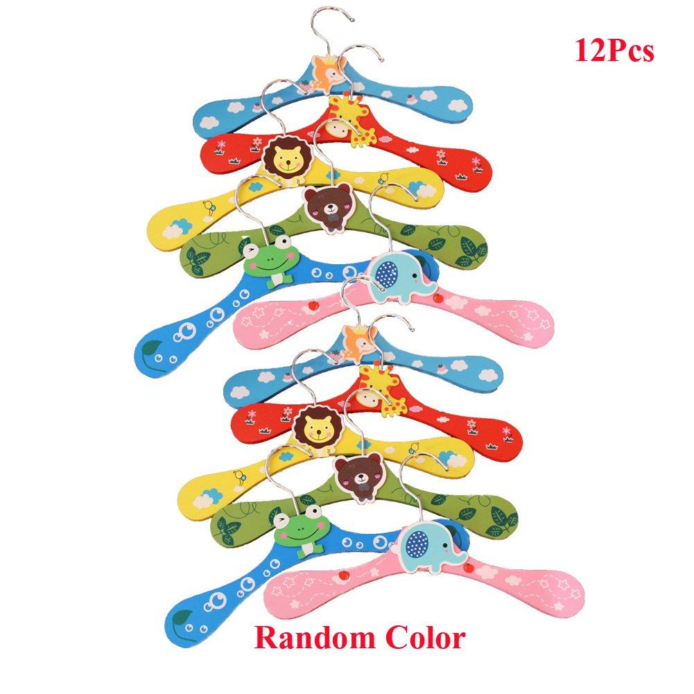 Lzttyee 12Pcs Children Cute Cartoon Animal Wooden Clothes Hangers Coats Pants Hook Hanger Rack Stands Random Color