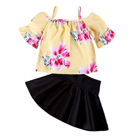 1409df34f Cinnamou Conjuntos Tops y Faldas para Niñas, Camiseta de Hombros ...