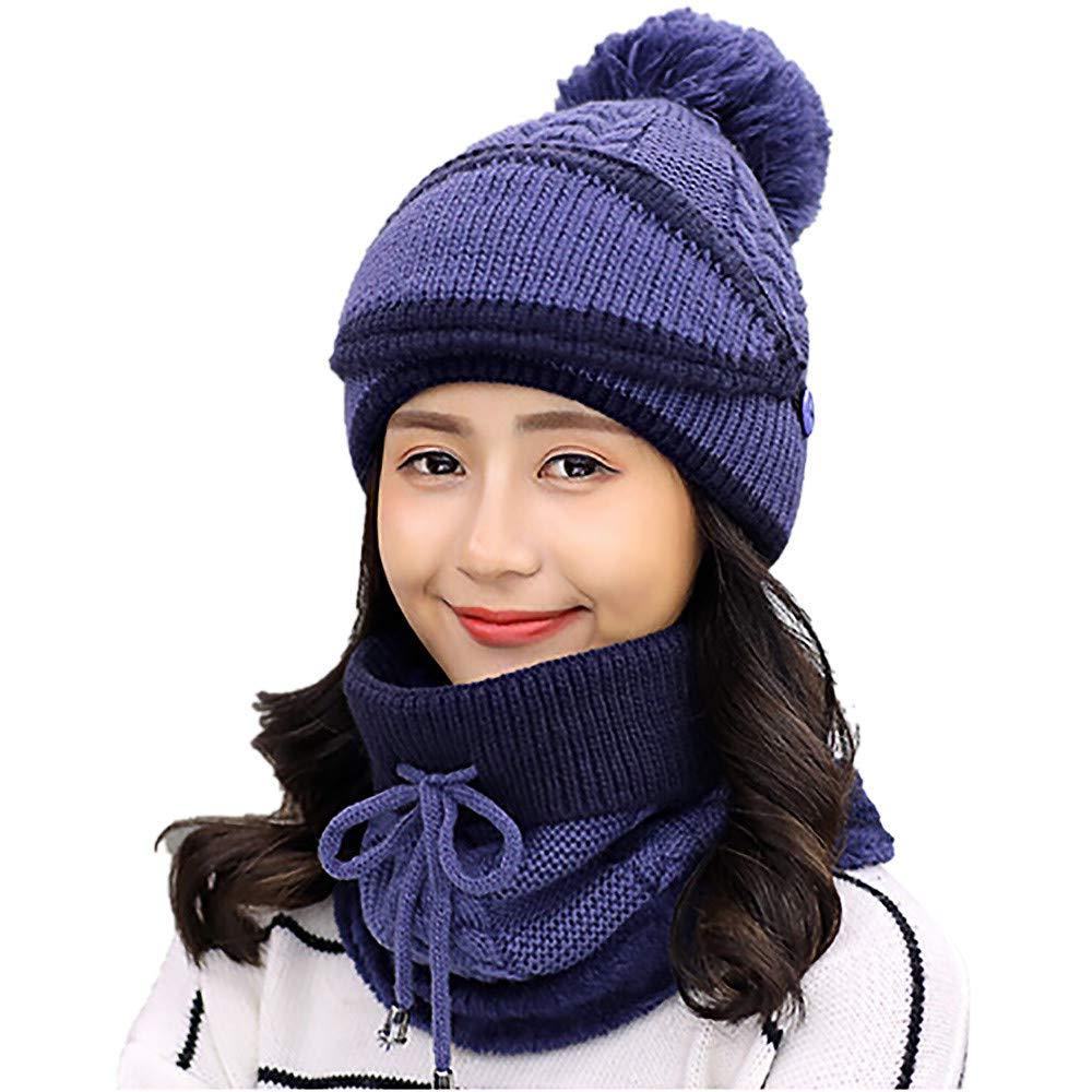 af5408eb5be Amazon.com  EnjoCho Clearance Sale! Adult Women Men Winter Earmuffs Knit Hat  Mask Scarf Hairball Warm Cap (Blue-6)  Office Products
