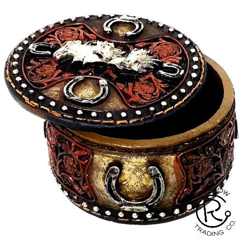 Polly House Western Trinket Box Decorative Box Jewel Box, Great for Home Decoration and Gift (Horse)